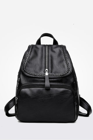 Classic Black Leather Backpack