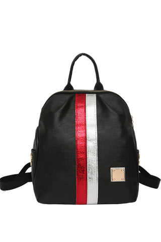 Striped Black Backpack
