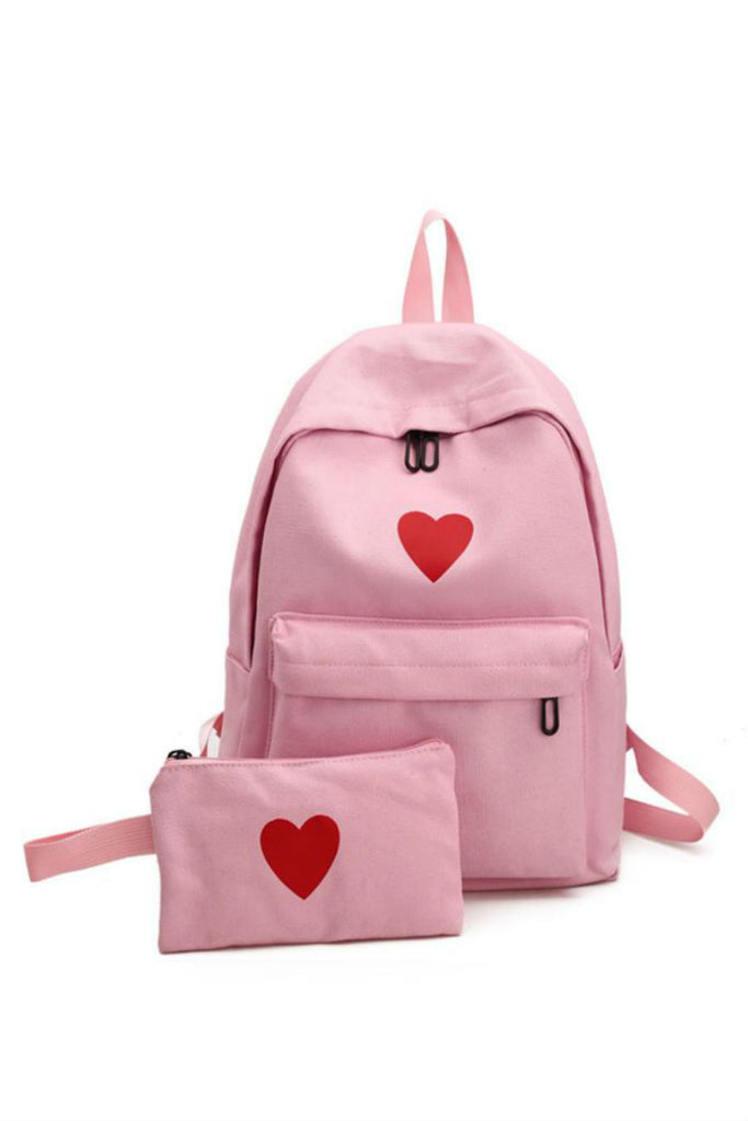 Heart Print Canvas Backpack