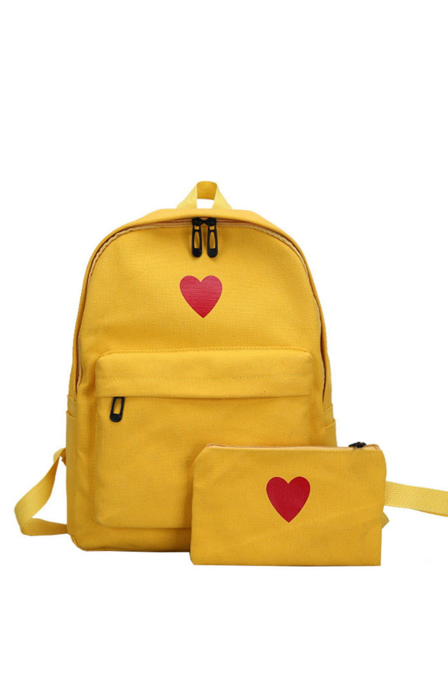 Cute Heart Print Canvas Backpack