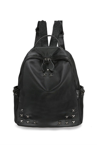 Black Studded Travel Backpack