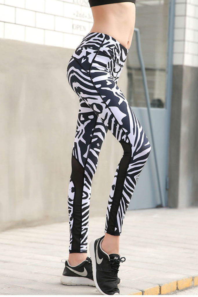 Zebra Mesh Yoga Leggings