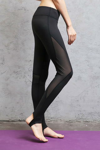 Black Mesh Barre Stirrup Leggings