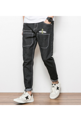 Bee Embroidered Jeans In Black
