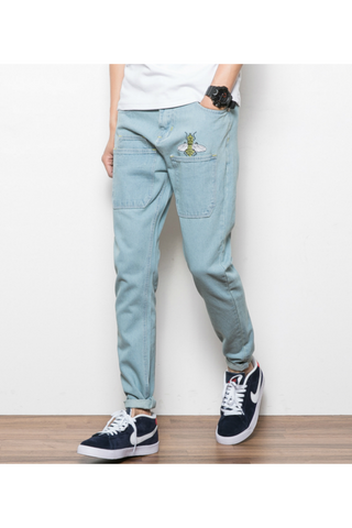 Bee Embroidered Jeans In Blue