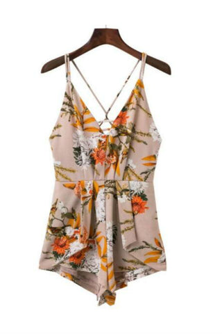 Beige Floral Printed Criss-cross Strappy Romper