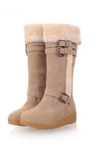 Buckle High Snow Boots In Beige