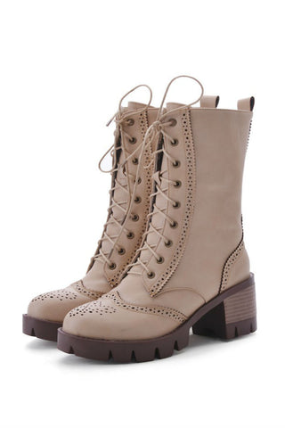 Beige Lace Up Heeled Boots