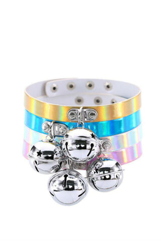 4pcs Hologram Kitty Bell Choker