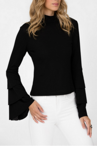 Black Layered Sleeves Knit Top
