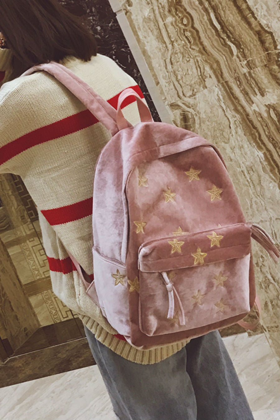 Starry Night Velvet Backpack
