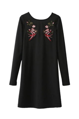 Bird Embroidered Long Sleeve Dress