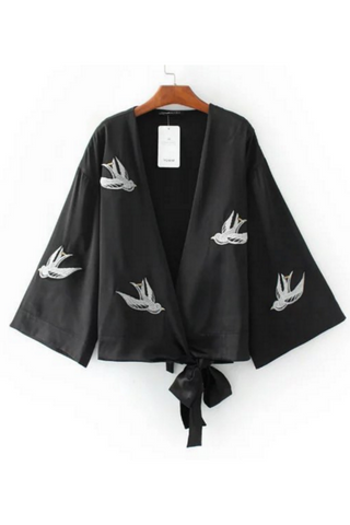 Black White Bird Embroidered Kimono