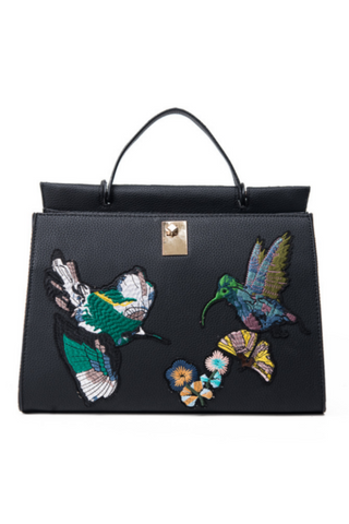 Vintage Bird Embroidery Tote Bag