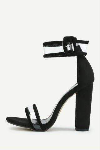 Clear Black Heeled Sandals
