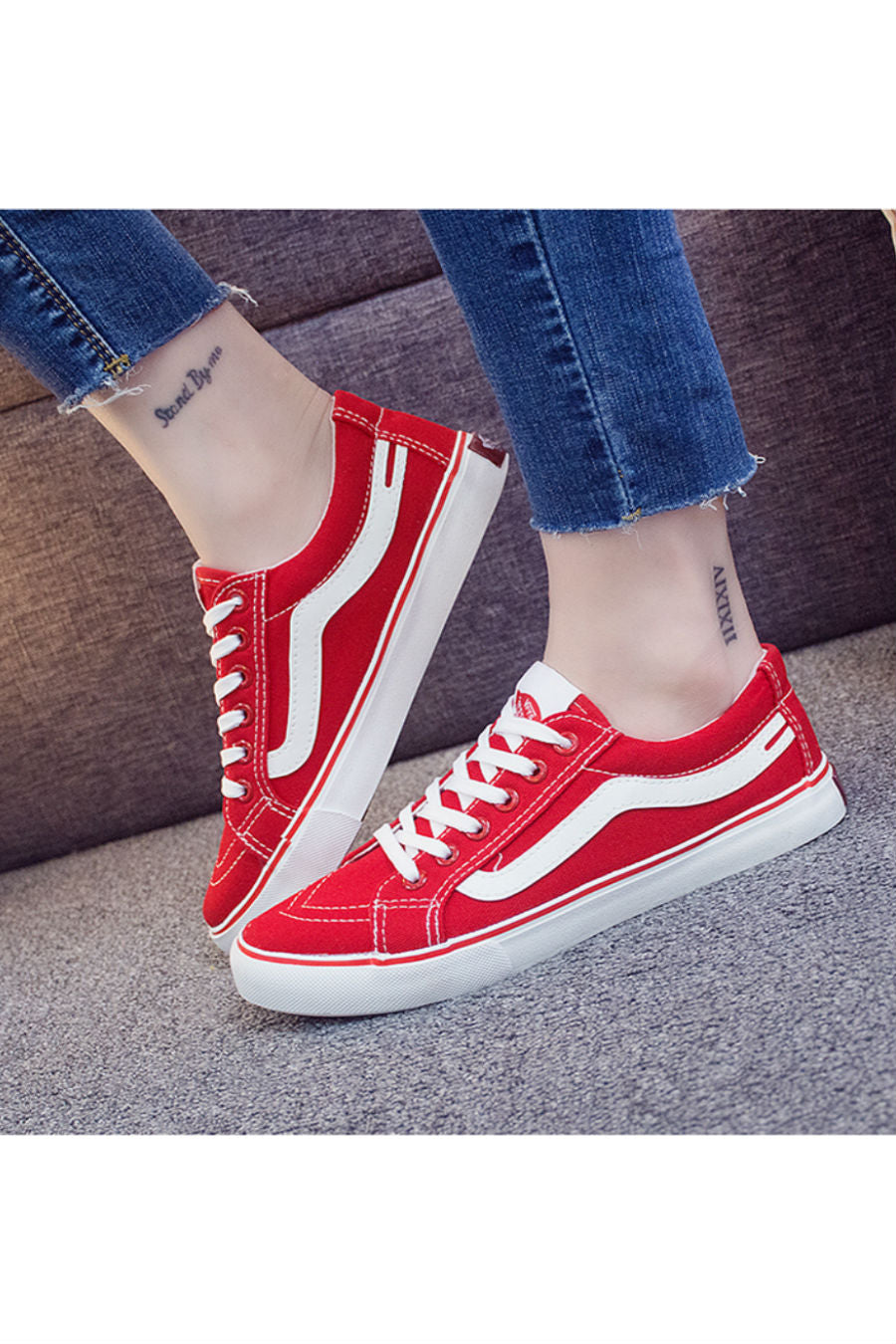 Vintage Red Canvas Shoes
