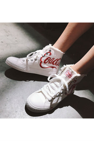 Coca High Top White Sneakers