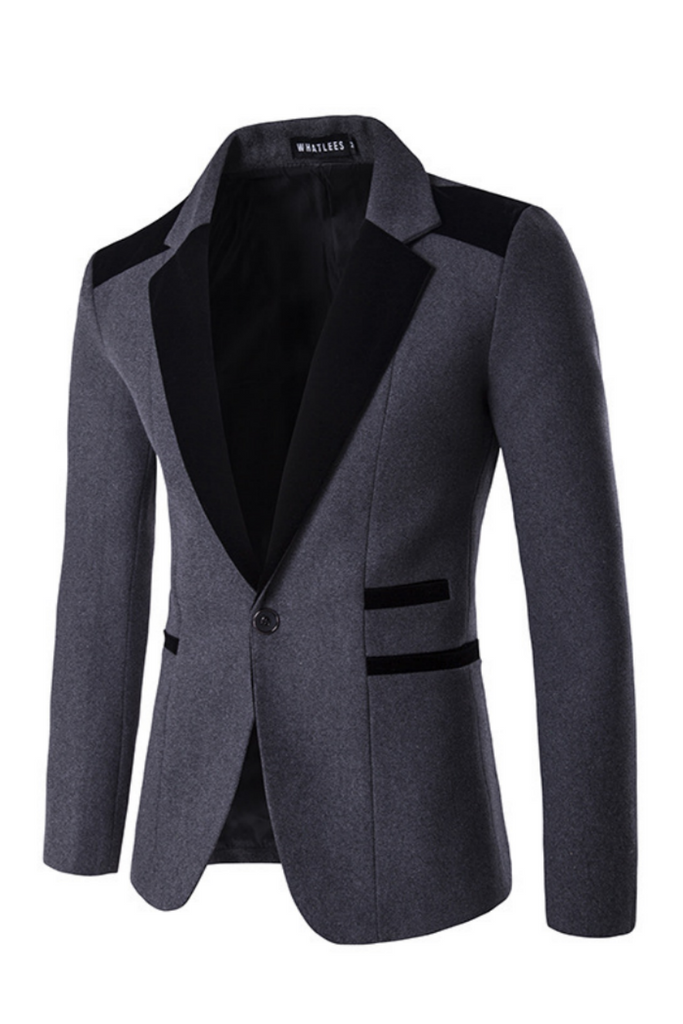 Black Gray Hit Color Blazer