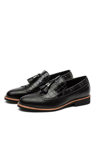 Black Tassel Brogue Dress Loafers
