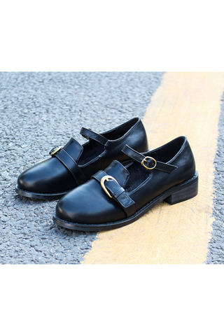 Black Buckle Strap Shoes