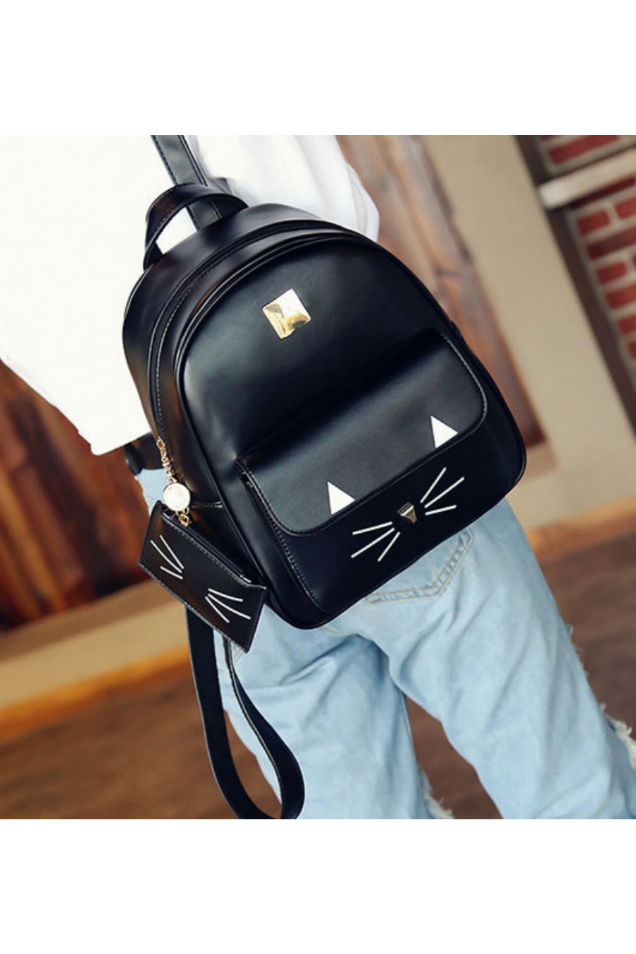 Mini Cat Backpack With Purse