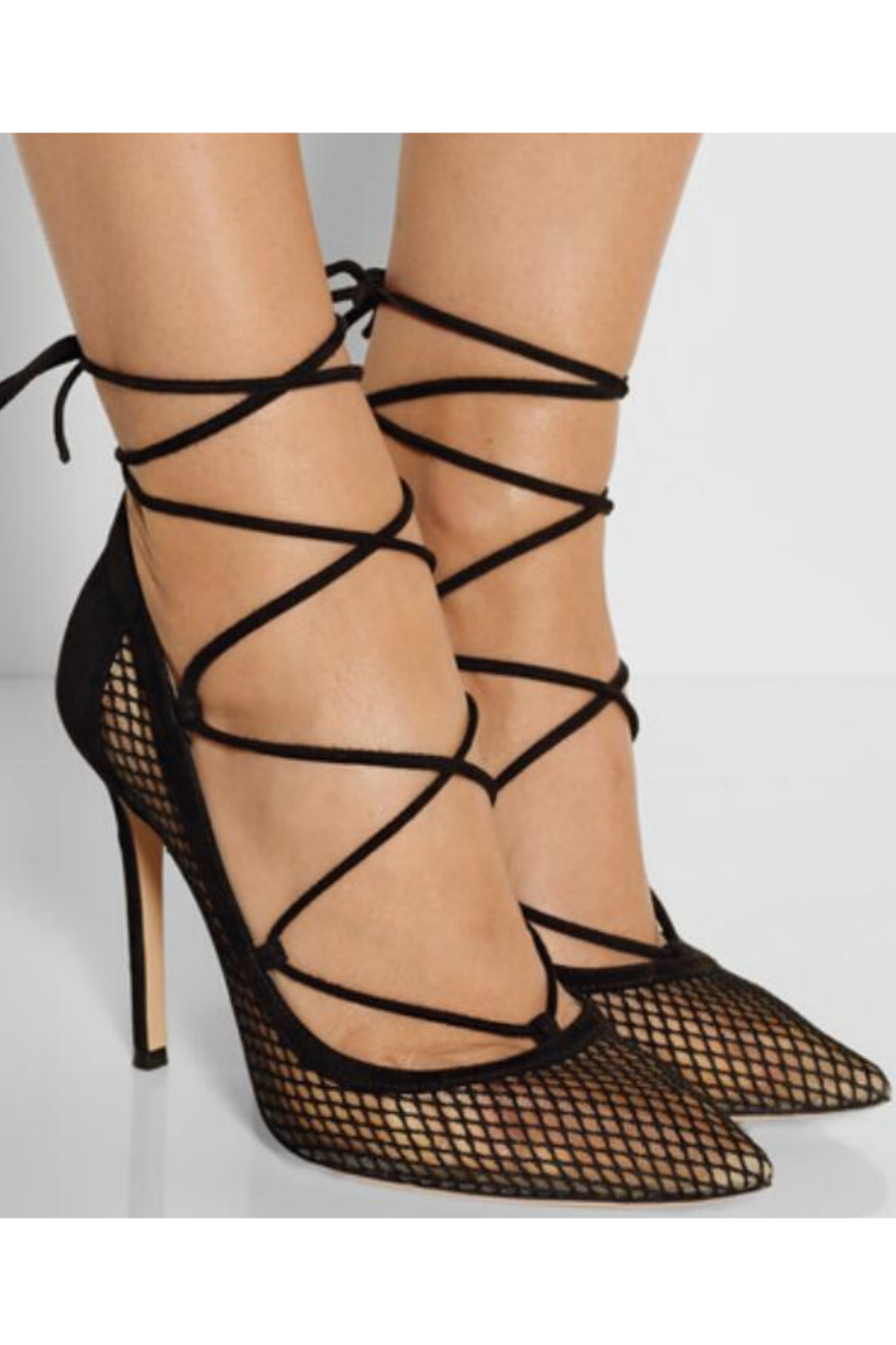 Black Mesh Cross Strap Pump