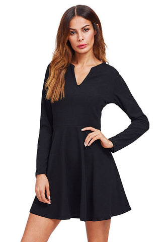 Elegant Long Sleeve Black Dress