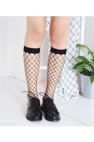 Black Fishnet Knee-high Socks-2 pairs