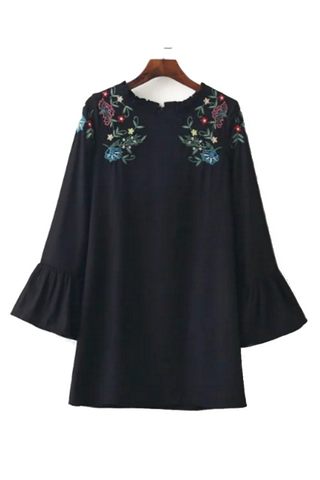 Embroidered Flare Long Sleeve Dress