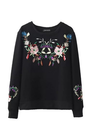 Black Floral Retro Sweater