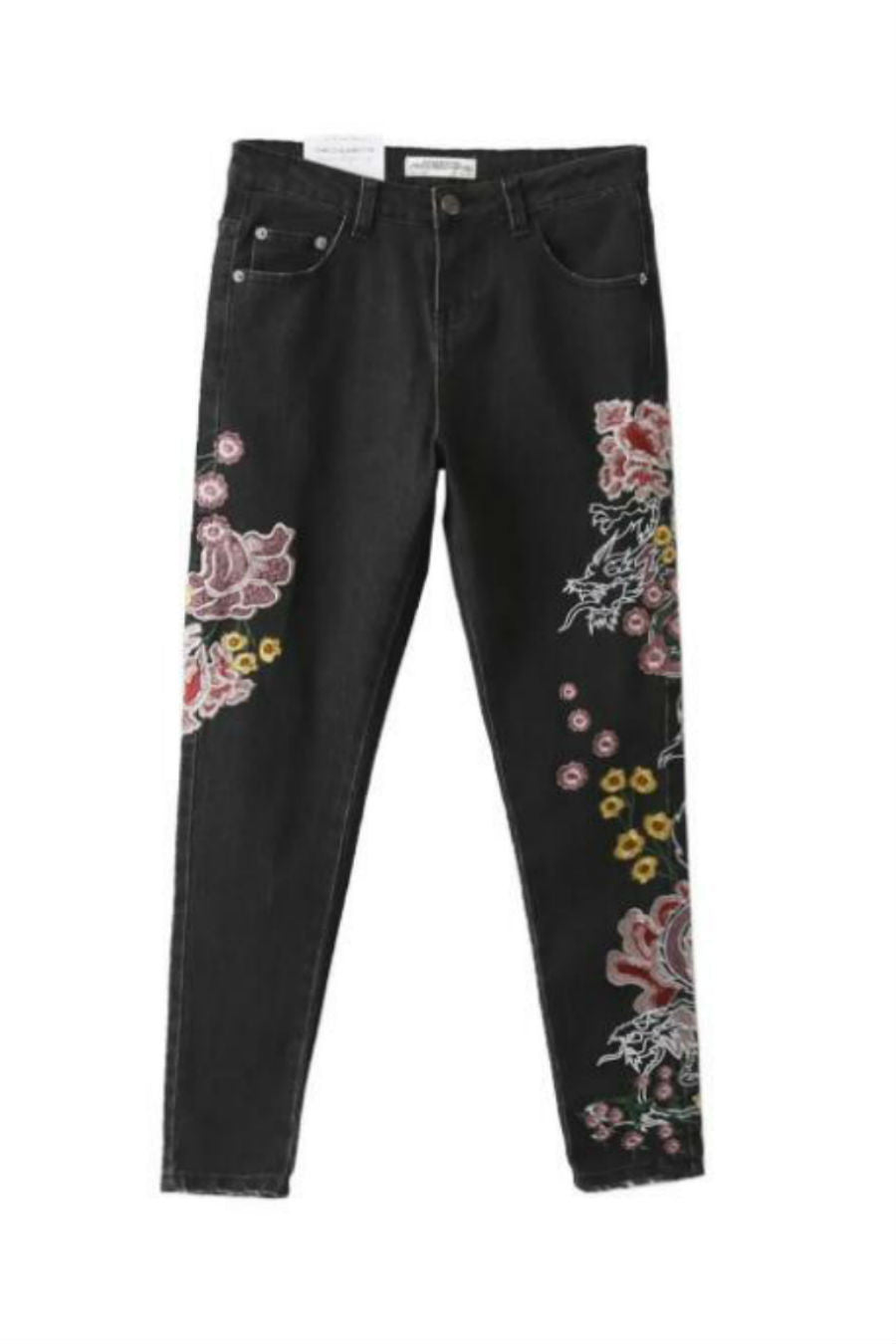 Black Floral Embroidery Jeans
