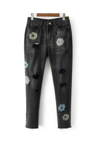 Black Floral Embroidery Ripped Jeans