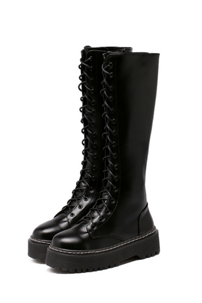 Black Zipper Side High Leg Boots
