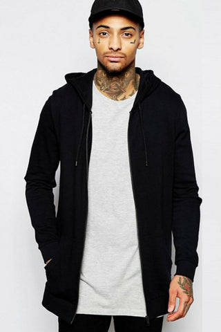 Black Zipper Hooded Jacket