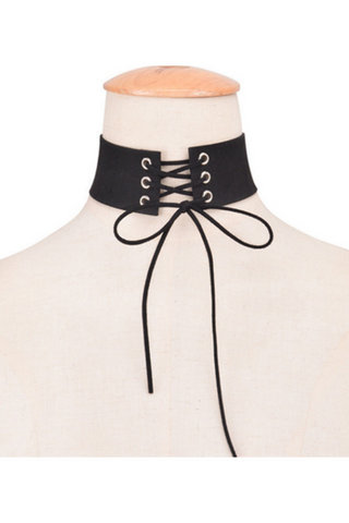 Black Lace Up Choker