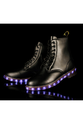 Black Unisex LED Light Martin Boots