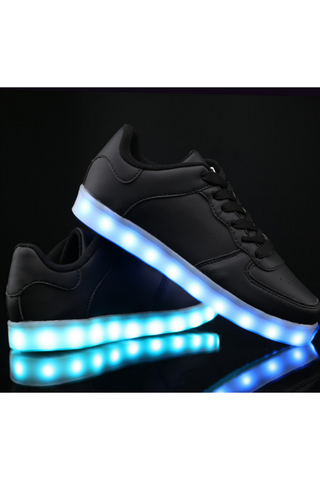 Unisex LED Light Lace Up Luminous Shoes In Black