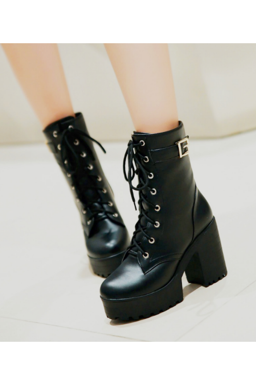 Block Heel Lace Up Boots In Black