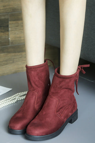 Burgundy Back Lace Up Boots