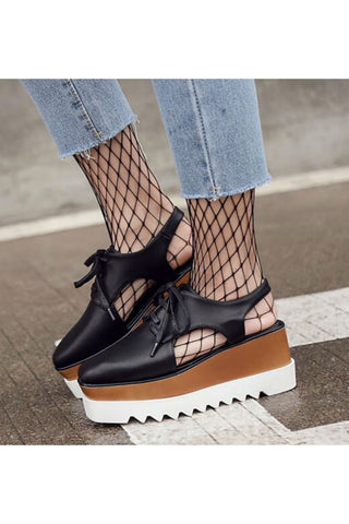 Black Cut-out Platform Shoes