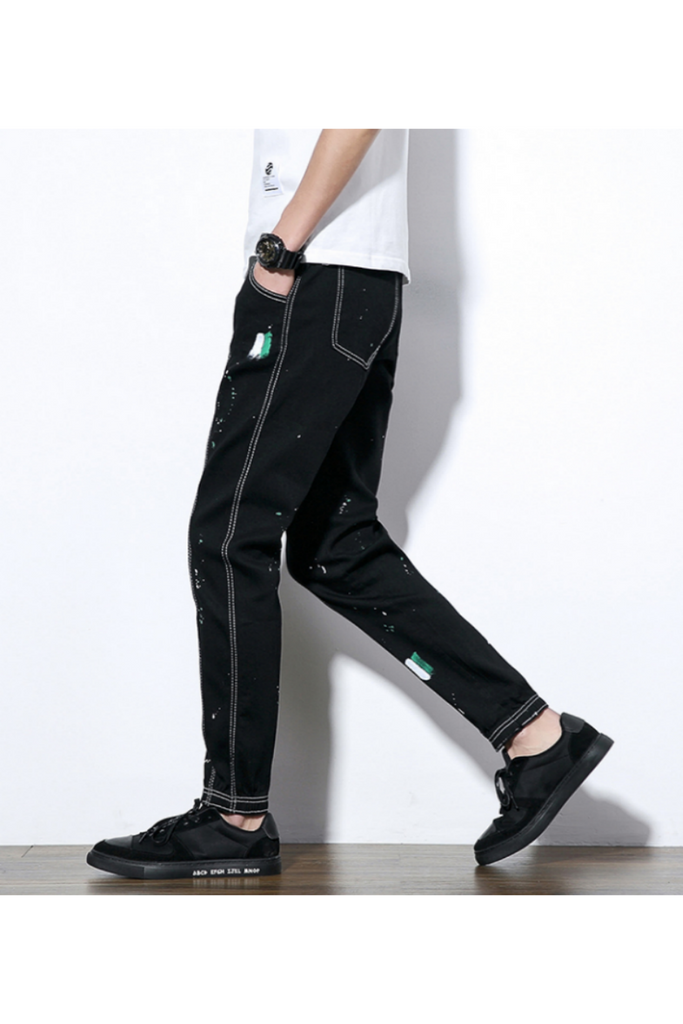 Black Painting Casual Jeans