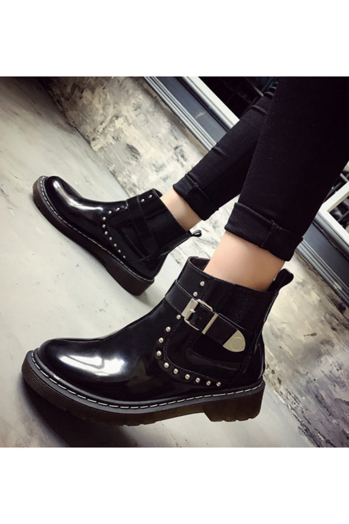 Black Studded Patent Boots