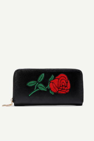 Rose Embroidery  Wallet In Black