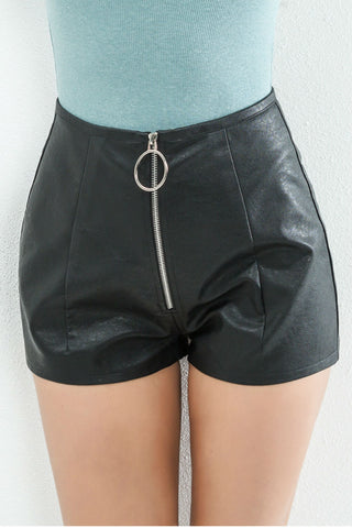 Black Leather Zipper Shorts