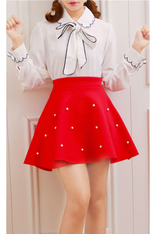 Red Pearl High Waist Skirt