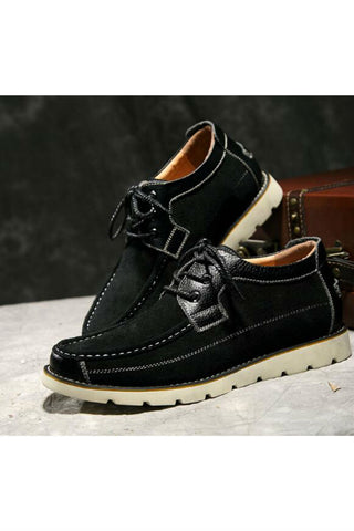 Men High Top Suede Leather Shoes In Black