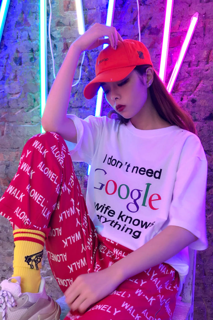 Google Print White  T-shirt