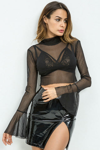Black Bell Sleeve Mesh Top