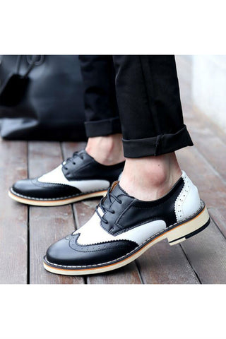Black White Color Block Brogue Shoes