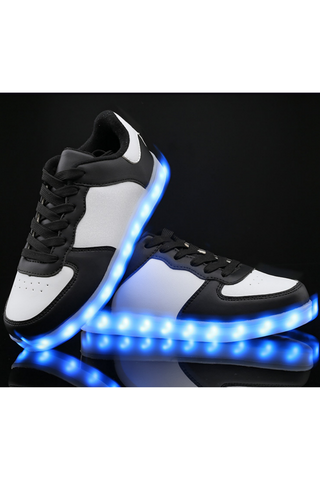 Black White Unisex LED Light Lace Up Luminous Sneaker